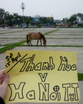 Thanh Hoa central train station, behind the random horse.