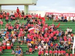 The noisy home fans, including a great band