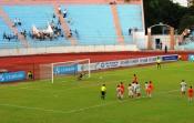 Ninh Binh's Nguyễn Mạnh Dũng saves Nguyễn Minh Phương 's second half penalty