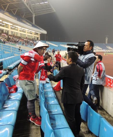 Hong Kong fan, Edmund, interviewed at half time