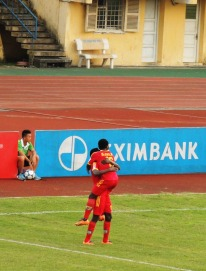 An Giang's Patiyo celebrates his opening goal