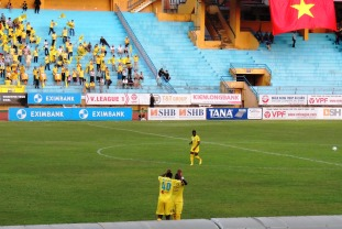 T&T's Cyrus celebrate his first goal for the club