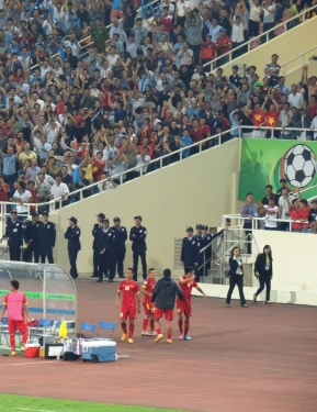 Vietnam celebrate Thanh Luong's great strike, 2-0.