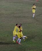 Đỗ Duy Mạnh celebrates his first senior goal