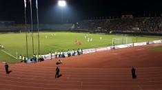 Nguyễn Trọng Hoàng scores as Binh Duong celebrate their 4th goal