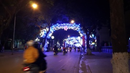 Tet street decorations near the Hang Day stadium