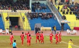 Becamex Bình Dương celebrate Anh Duc's (11) opening goal