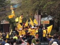 Thanh Hoa fans get the pre-match atmosphere going
