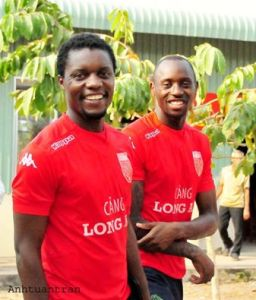 Lonmg An's new signings Franklin Anzite (r) & Paul Emile Biyaga