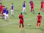 Hai Phong's Errol Stevens prior to smashing in the equaliser