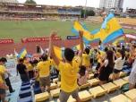 Home fans celebrate Samsons opening goal