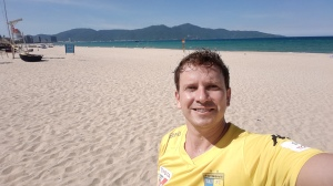 Tough being an away fan in Vietnam...Danang beach