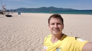 Tough being an away fan in Vietnam...Danang beach