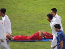 Nguyễn Trọng Đại is carried off afterscoring a wonderful volley