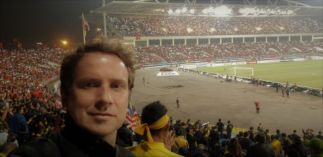 In with the Malaysia fans. Proper fan culture and ultras.